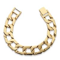 Men's Yellow Gold-Plated Flat Profile Curb-Link Bracelet (34mm), 10""