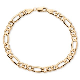 PalmBeach 10k Yellow Gold Men's 6.5mm Figaro Link Bracelet