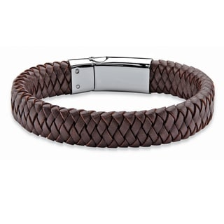 Stainless Steel Men's Brown Braided Leather Magnetic Closure Bracelet