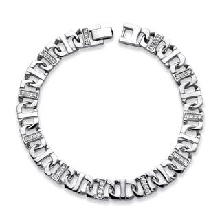 PalmBeach Silvertone Men's 1 1/10ct TGW Cubic Zirconia 10mm Mariner Link Bracelet