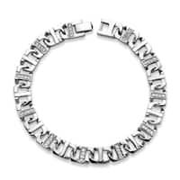 "Men's Silver Tone Mariner Link Bracelet (10mm), Round Cubic Zirconia, 9.75"""