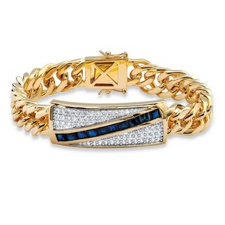 Men's Yellow Gold-Plated Princess Cut Sapphire and Round Link Bracelet Cubic Zirconia, (5 3/4 cttw)