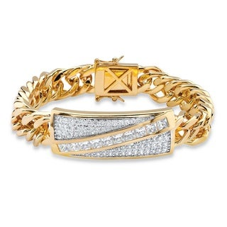 14k Goldplated Men's 5 1/3ct TGW Pave Cubic Zirconia Diagonal Curb Link Bracelet