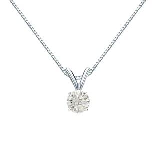 Auriya 14k Gold 1/4ct TDW Round Diamond Solitaire Necklace