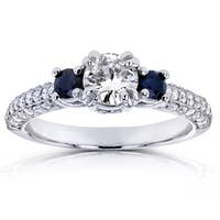 Annello by Kobelli 14k White Gold Sapphire and 3/4ct TDW Diamond Three Stone Engagement Ring