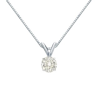 Auriya 14k Gold 1/3ct TDW Round Solitaire Diamond Necklace (3 options available)