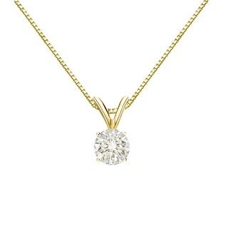 Auriya 14k Gold 1/3ct TDW Round Solitaire Diamond Necklace (Option: Yellow)