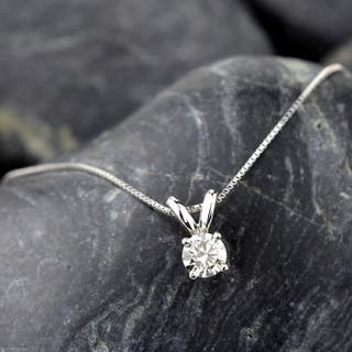 Si1 si2 diamond necklaces for less overstock auriya 14k gold 13ct tdw round diamond solitaire necklace aloadofball Choice Image