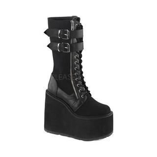 Women's Demonia Swing 221 Mid-Calf Boot Black Canvas/Vegan Leather