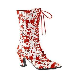 Women's Funtasma Victorian 120BL Mid Calf Boot White/Red Patent (More options available)