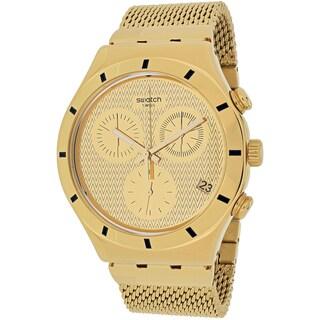 Swatch Women's YCG410GB Irony Chronograph Round Gold-tone Stainless Steel Mesh Bracelet Watch