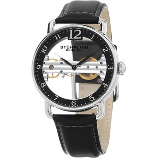 Stuhrling Original Men's Bridge Mechanical Skeleton Black Leather Strap Watch