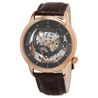 Stuhrling Original Men's Delphi Automatic Skeleton Brown Leather Strap Watch