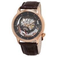 Stuhrling Original Men's Delphi Automatic Skeleton Brown Leather Strap Watch