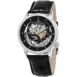 Stuhrling Original Men's Delphi Automatic Skeleton Black Leather Strap Watch