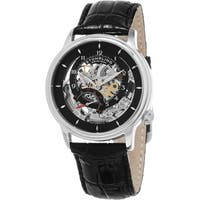 Stuhrling Original Men's Delphi Automatic Skeleton Black Leather Strap Watch