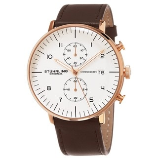 Stuhrling Original Men's Monaco Quartz Chronograph Watch with Brown Leather Strap