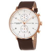 Stuhrling Original Men's Monaco Quartz Chronograph Watch with Leather Strap