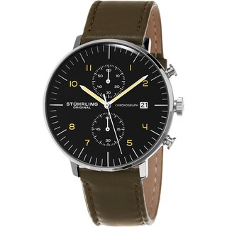 Stuhrling Original Men's Monaco Quartz Chronograph Watch with Green Leather Strap