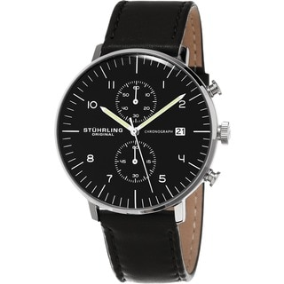 Stuhrling Original Men's Monaco Quartz Chronograph Watch with Black Leather Strap