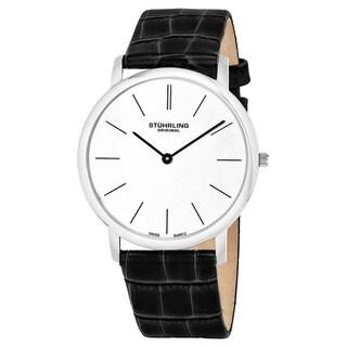Stuhrling Original Men's Ascot Swiss Quartz Black Leather Strap Watch