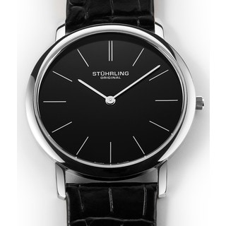 Stuhrling Original Men's Ascot Swiss Quartz Black Leather Strap Watch