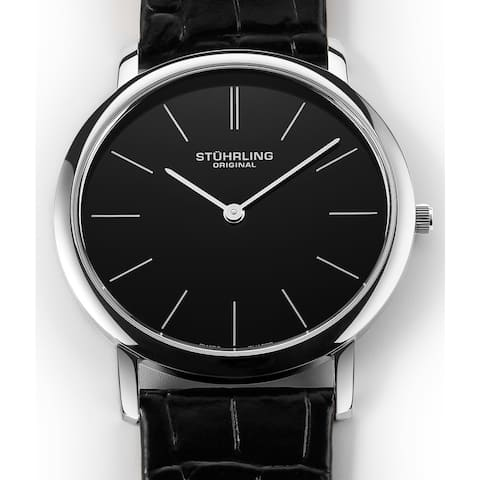 Stuhrling Original Men's Ascot Swiss Watch with Leather Strap
