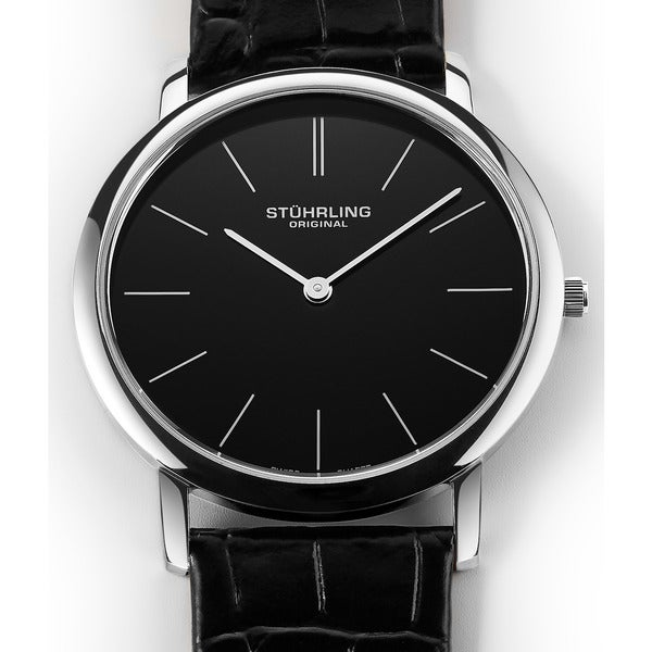 Stuhrling Original Men's Ascot Swiss Watch with Leather Strap. Opens flyout.