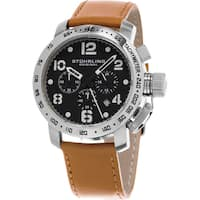 Stuhrling Original Men's Aviator Quartz Chronograph Brown Leather Strap Watch