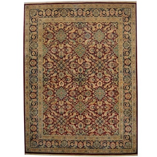 Herat Oriental Pakistani Hand-knotted Kashan Red/ Navy Wool Rug (9' x 12')