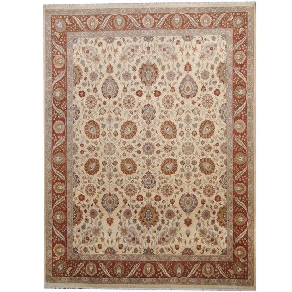 Herat Oriental Pakistani Hand-knotted Kashan Ivory/ Brown Wool Rug (9' x 12') - 9' x 12'