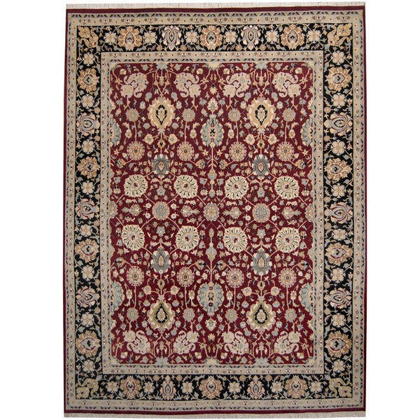 Herat Oriental Pakistani Hand-knotted Kashan Red/ Black Wool Rug (9' x 12') - 9' x 12'