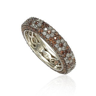 Suzy L. Sterling Silver Cubic Zirconia Brown and White Flower Eternity Band