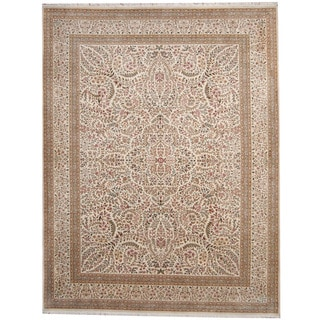 Herat Oriental Indo Hand-knotted Kerman Ivory/ Green Wool & Silk Rug (9' x 11'8)