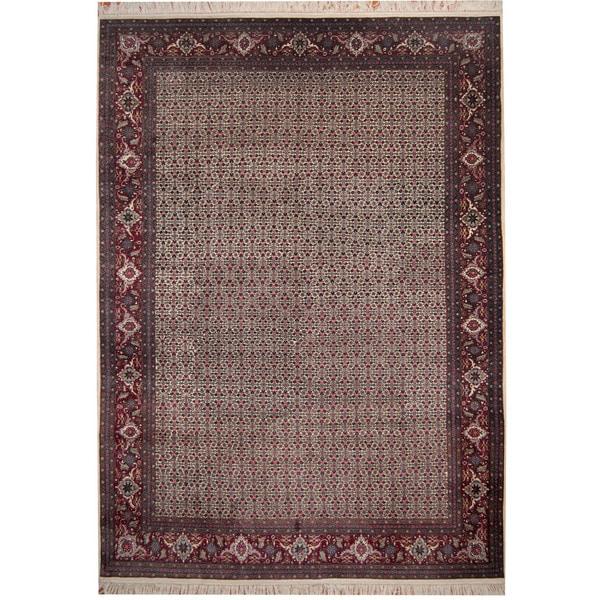 Herat Oriental Indo Hand-knotted Tabriz Ivory/ Red Wool & Silk Rug - 9'1 x 12'7