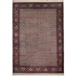 Herat Oriental Indo Hand-knotted Tabriz Ivory/ Red Wool & Silk Rug (9'1 x 12'7)
