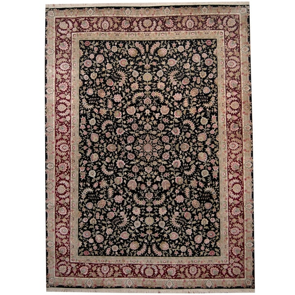 Herat Oriental Indo Hand-knotted Kashan Black/ Red Wool & Silk Rug (8'8 x 11'8) - 8'8 x 11'8