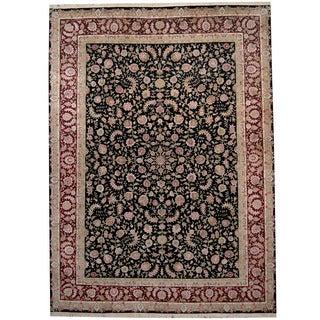 Herat Oriental Indo Hand-knotted Kashan Black/ Red Wool & Silk Rug (8'8 x 11'8)