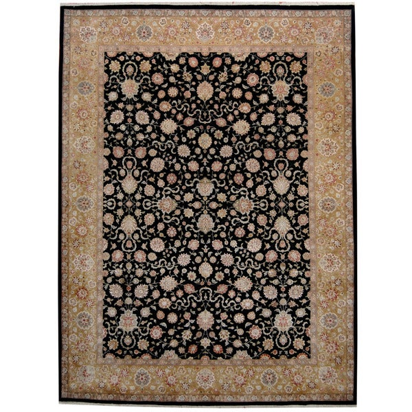 Handmade Herat Oriental Indo Kashan Black/ Gold Wool & Silk Rug - 9' x 12' (India)