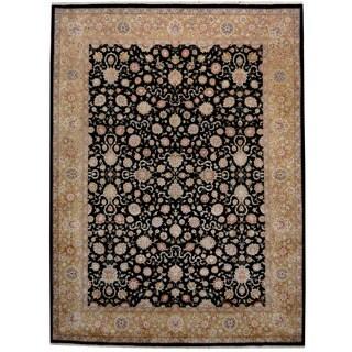 Herat Oriental Indo Hand-knotted Kashan Black/ Gold Wool & Silk Rug (9' x 12')