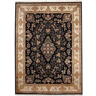 Herat Oriental Indo Hand-knotted Kerman Black/ Ivory Wool & Silk Rug (8'8 x 12')