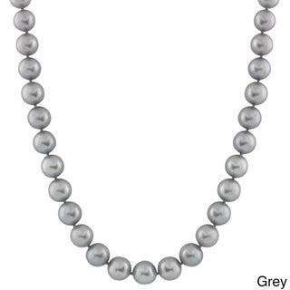 14K Gold 9-millimeter Freshwater Pearl Necklace (Option: Grey - White)