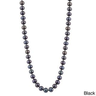 14K Gold 9-millimeter Freshwater Pearl Necklace (Option: Black - White)