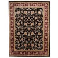 Herat Oriental Indo Hand-knotted Kashan Black/ Red Wool & Silk Rug (9' x 12') - 9' x 12'