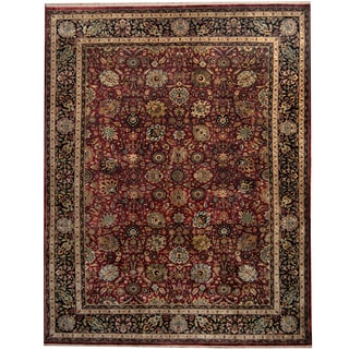 Herat Oriental Indo Hand-knotted Mahal Red/ Black Wool Rug (9' x 11'8)