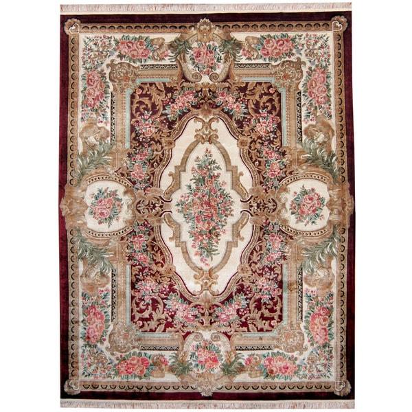 Shop Handmade Herat Oriental Indo Kashmiri Silk Aubusson Red Ivory
