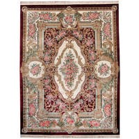 Herat Oriental Indo Hand-knotted Kashmiri Silk Aubusson Red/ Ivory Wool Rug (9' x 12') - 9' x 12'