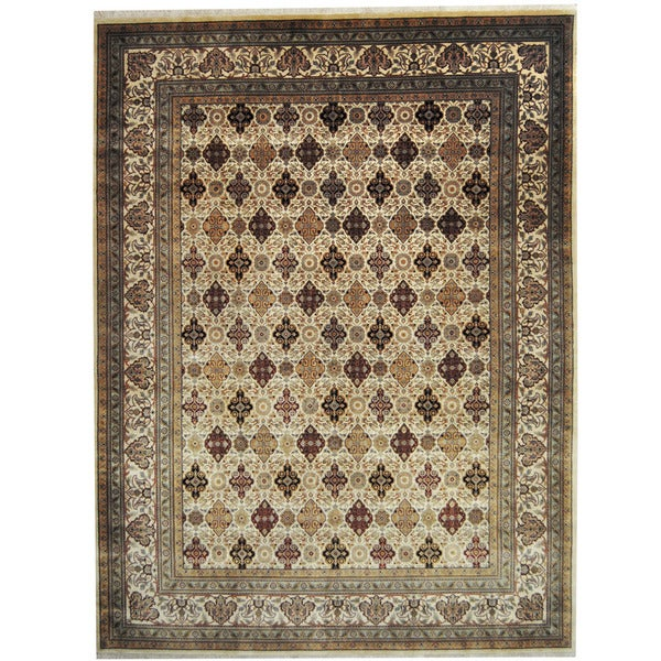 Herat Oriental Indo Hand-knotted Kashan Ivory/ Gold Wool Rug (9' x 11'9) - 9' x 11'9