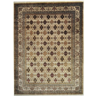 Herat Oriental Indo Hand-knotted Kashan Ivory/ Gold Wool Rug (9' x 11'9)