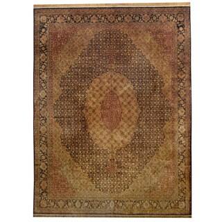 Herat Oriental Indo Hand-knotted Gold Wash Tabriz Gold/ Black Silk Rug (9' x 11'10)